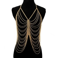 Gold Layered Center Looped Body Chain
