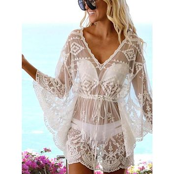 2020 Bikini Cover Up Lace Hollow Crochet Swimsuit Beach Dress Women Summer Ladies Cover-Ups Bathing Suit Beach Wear Tunic