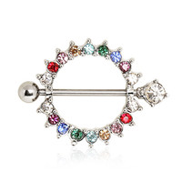 316L Surgical Steel Nipple Shield with Rainbow Ring