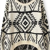 Vintage geometric pattern knitted sweater from Fanewant