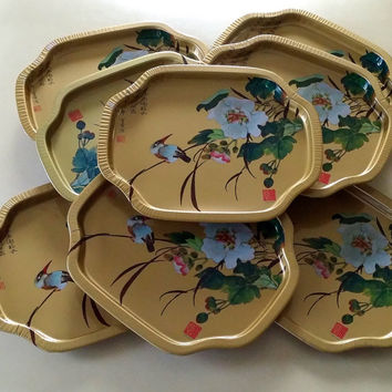 8 CHINOISERIE CHIC TRAYS - Asian Birds and Botanical Motif Small Tray set with Chinese Symbols - Metallic Gold Metal - Made in Hong Kong
