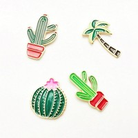 1 pcs creative cactus fashion style alloy airplane brooch button pins denim jacket pin badge for clothes metal lapel pins