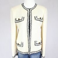 Classic 70s designer style black and white tweed/ knit jacket/ tweed jacket/ soft knit jacket/ knit blazer/ size s-m