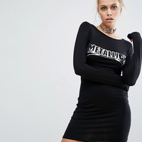 Adolescent Clothing Bodycon Long Sleeve Dress With Metallica Foil Band Print at asos.com