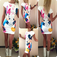 Mickey and Minnie Mouse Cartoon Print Short Sleeve Dress
