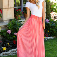 Fanned in Fashion Tie Skirt Coral