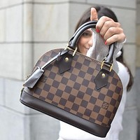LV Louis Vuitton Classic Plaid Letter Pattern Alma BB Handbag Fashion Ladies One Shoulder Messenger Bag