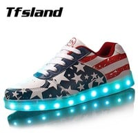 Tfsland  Men Women LED Light Up Shoes Glowing USB Charger LED Shoes American Flag Print Walking Shoes Soft Lumineuse Sneakers