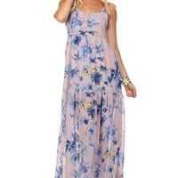 Women's Floral Printed Sleeveless Chiffon Maxi Dress