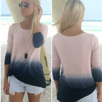 Color Dipped Long Sleeve Sweat Shirt