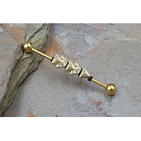 Geometric Triangles Yellow Gold Industrial Barbell