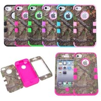 XYUN Triple Layer Hybrid Real Tree Camo Hybrid Hard Case Cover for Iphone 4 4g 4s (ROSE)