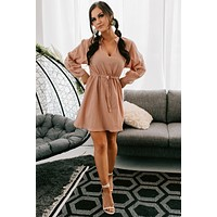 Good For the Soul Embroidered Cutout Sleeve Dress (Pecan)