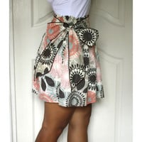 Coral and Brown Retro Flower Mini Skirt with Sash by LoNaDesign
