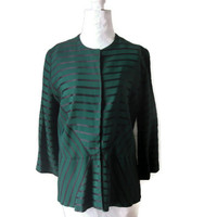 "Vintage 1940s Green and Black Stripe Faille Jacket with 3/4 Length Sleeves, Stunning Striped Jacket, Bust 39"" (99.1cm), Free US Shipping"