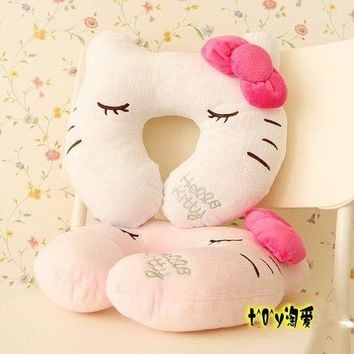 (10 Pcs/Lot) Bowknot White Pink Hello Kitty U-Shape Cartoon Comfortable Cotton Travel Neck Pillow