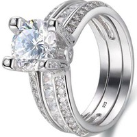 Round White Cz 925 Sterling Silver Wedding Band Engagement Ring Sets