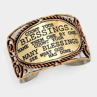 """""""Count your blessings"""" Cuff Bracelet"""