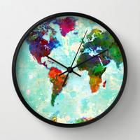 Abstract Map of the World Wall Clock by Gary Grayson