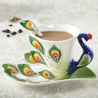 High quality Peacock Cup mugs Ceramic porcelain enamel couple cups wedding birthday gift creative tea cup Six-color Optional