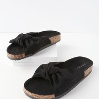 Campo Black Suede Knotted Slide Sandals