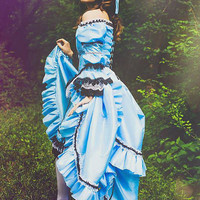 Mad Alice Fantasy Alice in Wonderland Themed Wedding Gown or Set Custom with Bloomers