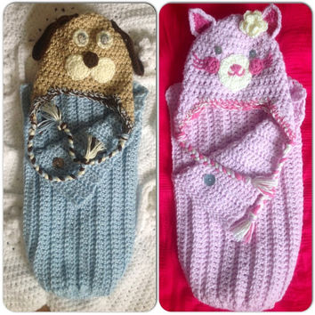Hat Beanie Cocoon Blanket Wrap Set Puppy or Kitty w-Flower Hand Crochet Snuggly w- ear flaps Baby Newborn Infant Photo Prop