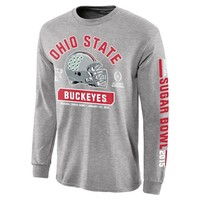 Ohio State Buckeyes 2015 College Football Playoff Sugar Bowl Bound Facemask Long Sleeve T-Shirt - Gray