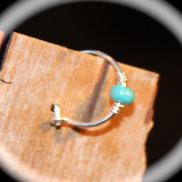 Sterling Silver Cartilage Earrings, Turquoise Beaded Nose Ring, Nose Hoop, Ear Cuff, Helix Hoop, Nose Rings, Latched Hoop Piercing Jewelry