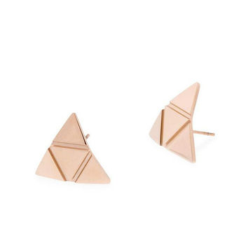 Curve Triangle Stud Earrings (Rose Gold)