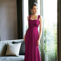 Chic Empire Spaghetti Straps Chiffon Bridesmaid Dresses Bridal Party Gowns With Beads And Bow
