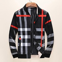 BURBERRY Fashion Men Casual Plaid Zipper Cardigan Sweatshirt Jacket Coat Sportswear Black