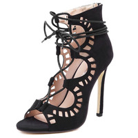 Hello Darling Lace Up Stiletto Gladiator Heels