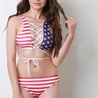 American Flag Strappy Lace Up Bikini Set