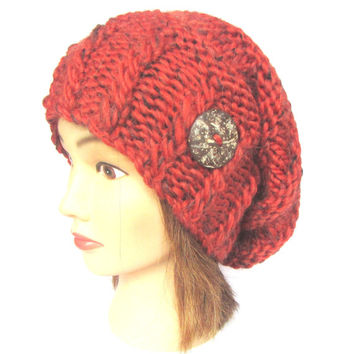 Slouchy beanie hat orange fleck slouch hats irish handknit beanies knitted chunky hat women gift for her with button speckled warm soft