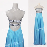 Beads Ice Blue Strapless Lace-up Backless Long Bridesmaid Dress,Floor Length Chiffon Formal Evening Party Prom Dress Homecoming Dress