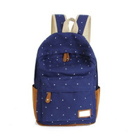 Korean Style 7 Colors Cute Double-Shoulder Bags Fashion Girls Women Canvas Dots Schoolbag Middle School Students Backpacks = 1714238724