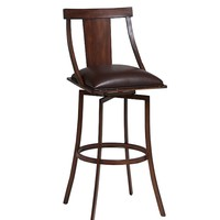 """Amrita 30"""" swivel barstool finished in Noyer metal and upholstered in Ford Brown"""