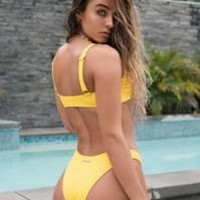 Ribbed Cheeky Bikini Bottom - Yellow