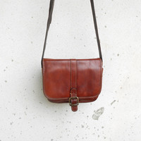 Vintage Cognac Brown THE TREND Leather Purse / Leather Crossbody Bag / Leather Messenger Bag / Small / Made in Italy