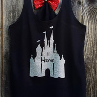 Woman's Disney Castle Home Bow Back Tank Top, Cinderella Castle Shirt, Woman's, Tank Top, Glitter, Sparkle, Disney Inspired
