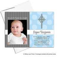 Baby Boy Christening Invite | Baptism Invitations, Blue and Gray, Photo Card, Cross, DIY Printable or Printed (202)