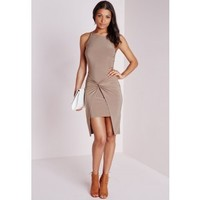 Slinky Knot Front Midi Dress Taupe - Dresses - Midi Dresses - Missguided