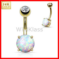 14k Solid Gold Opal 14g Belly Button Ring Yellow Gold Navel Ring Belly Ring Navel Jewelry Belly Button Jewelry Navel Piercing Opal Ring