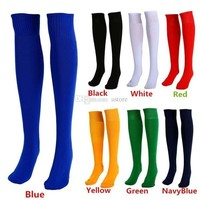s   Adults Sports Socks Football Plain Color Knee  Cotton One Size PX252