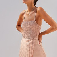 UO Smocked Gingham Skort Romper | Urban Outfitters