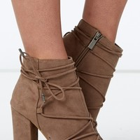License To Thrill Taupe Peep-Toe Booties