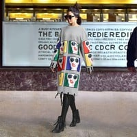 Women Show Thin Fashion Multicolor Cartoon Patch Tassel Long Sleeve Middle Long Section Thickened Sweater Dress