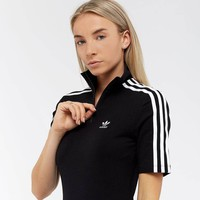 adidas Originals Womens 3 Stripe Upright Neck Zipper Dress - Black