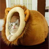 Pet Cat Bed Dog House Lion Leopard Giraffe Pet Nest Autumn Winter Warm House Kennel Cat Pets Beds House Pets Supplies